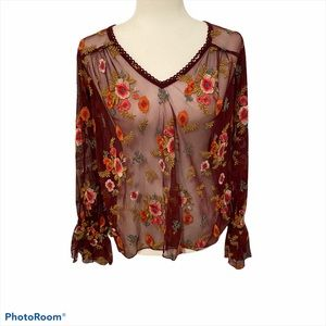 Anthropologie Feather Bone Burgundy Floral Top XS